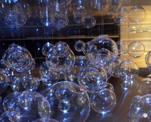 Table basse avec bulles de verre Murano